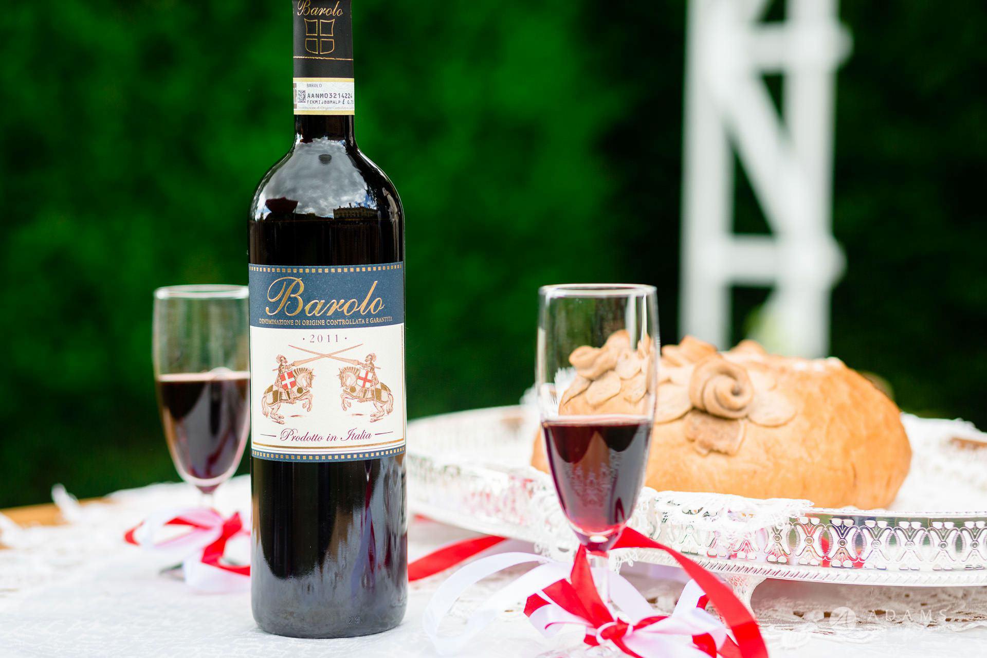 Clare College wedding ceremony wine and bread