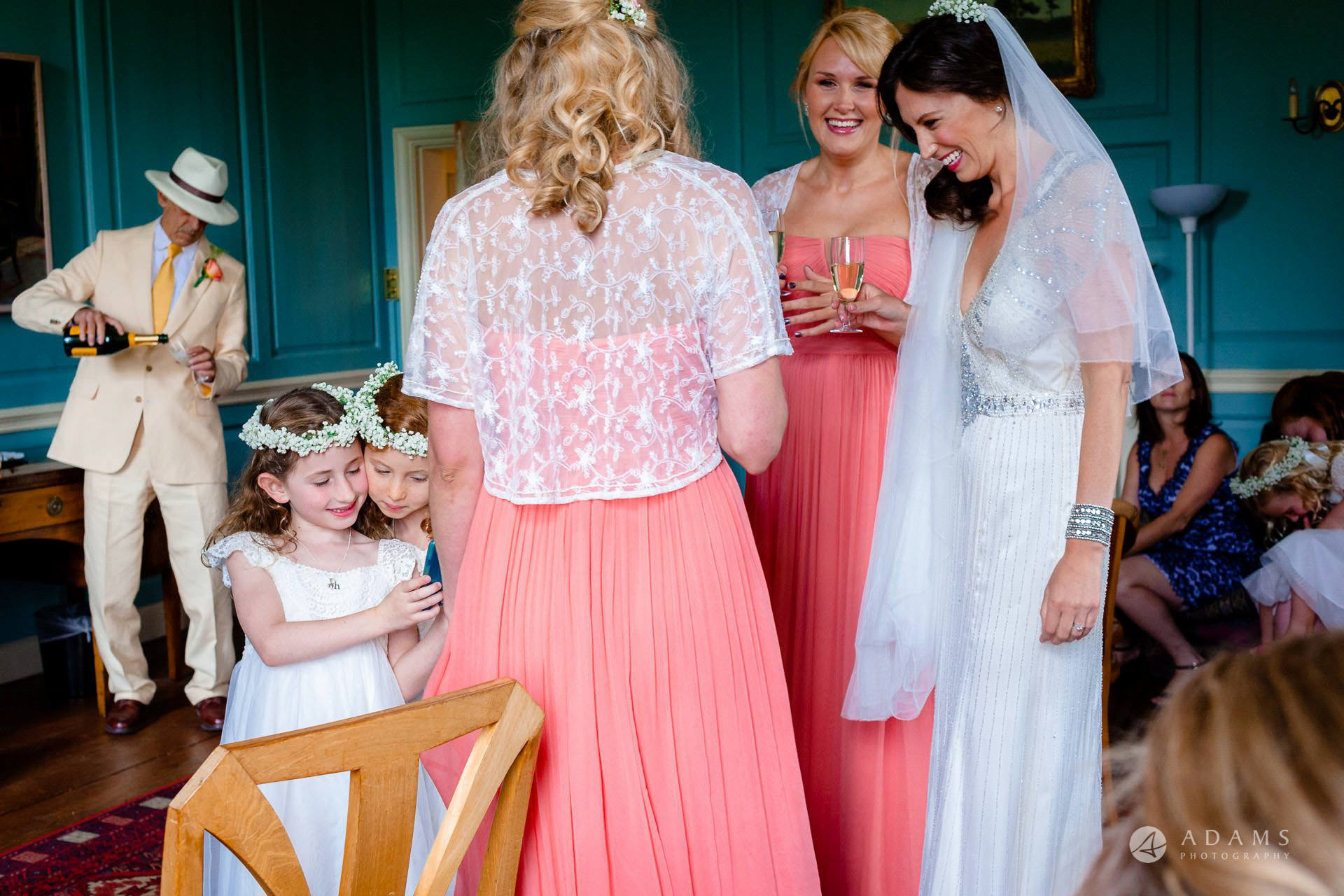 Clare College wedding flower girls playing