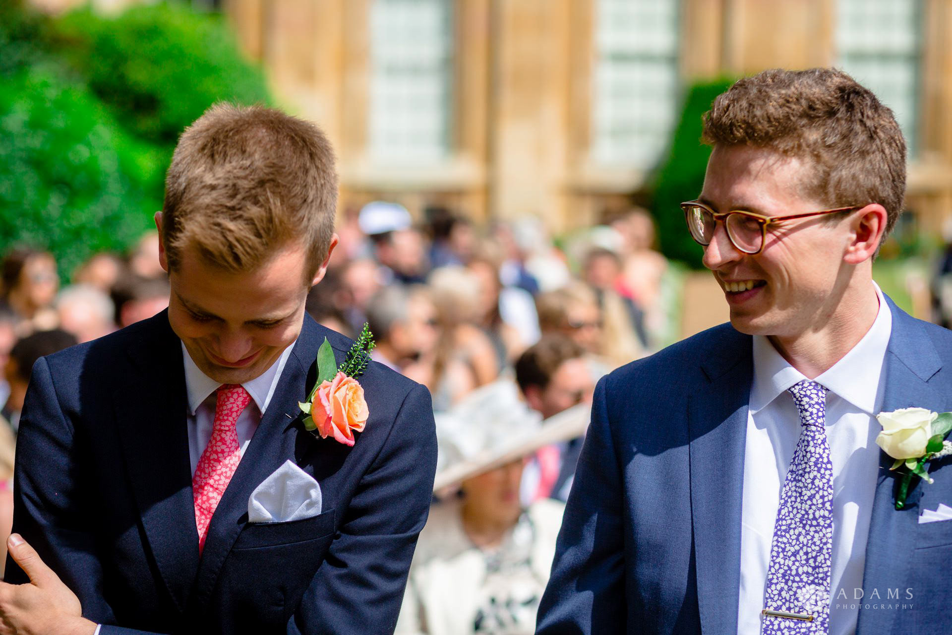 Clare College wedding groom and his best-man waiting for the bride