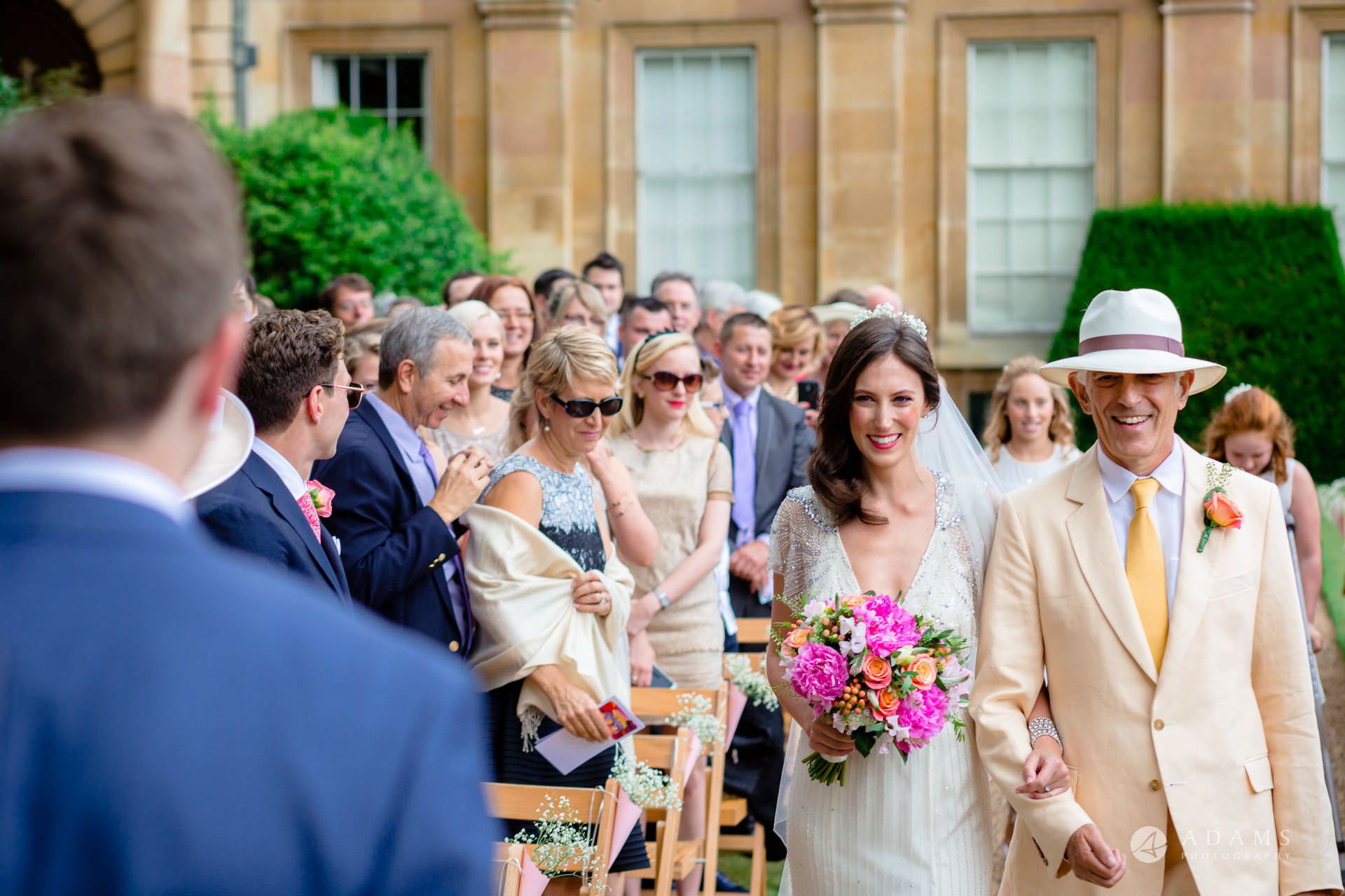 Clare College wedding bride walking down the aisle