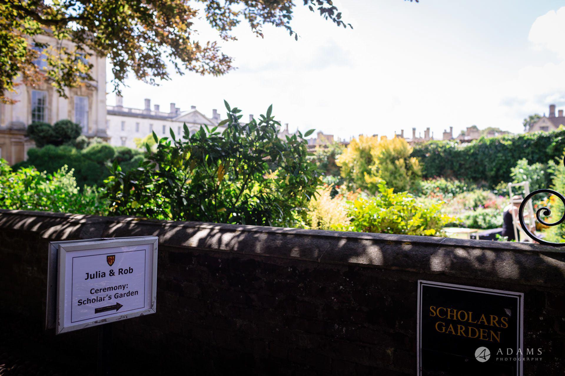 Clare College wedding sign