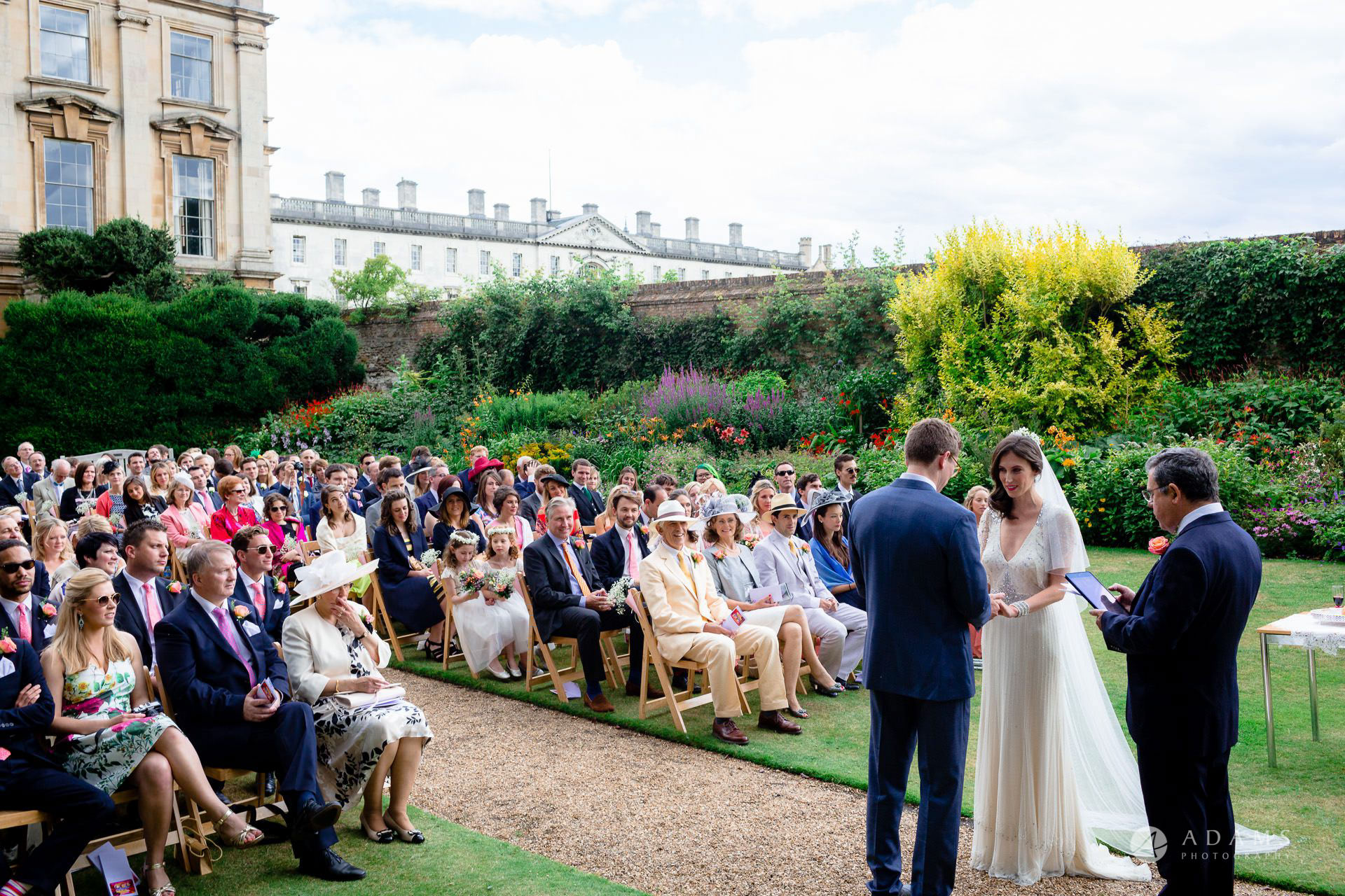 Clare College wedding view of the vedding ceremony and guests
