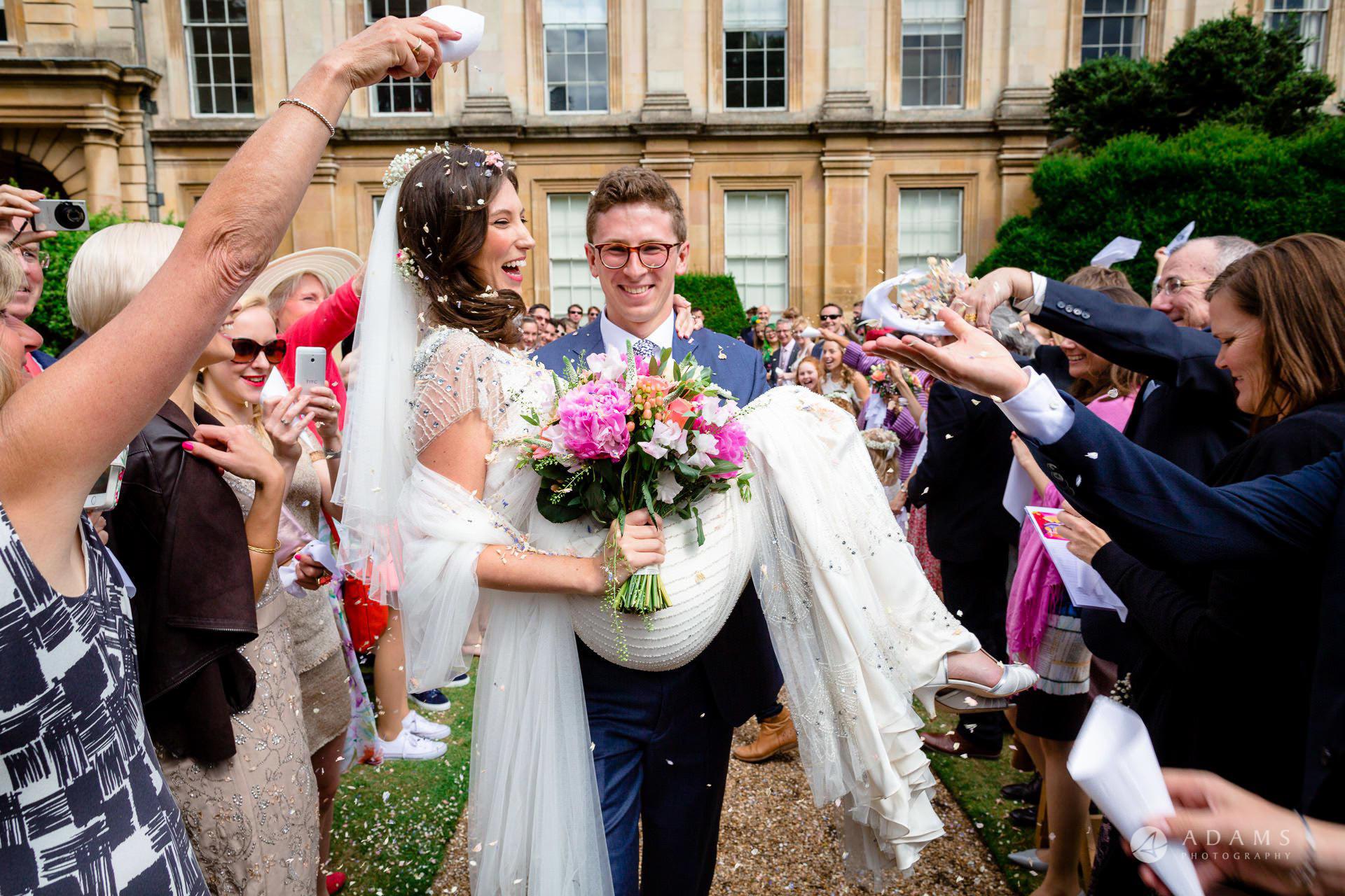 Clare College wedding photographer confetti