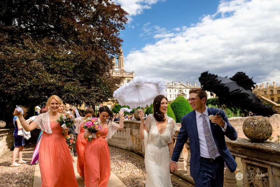 Clare College wedding photographer married couple on the bride