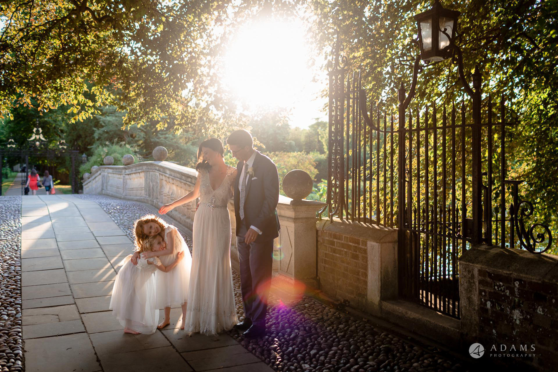 Clare College wedding golden hour photo shot of the couple