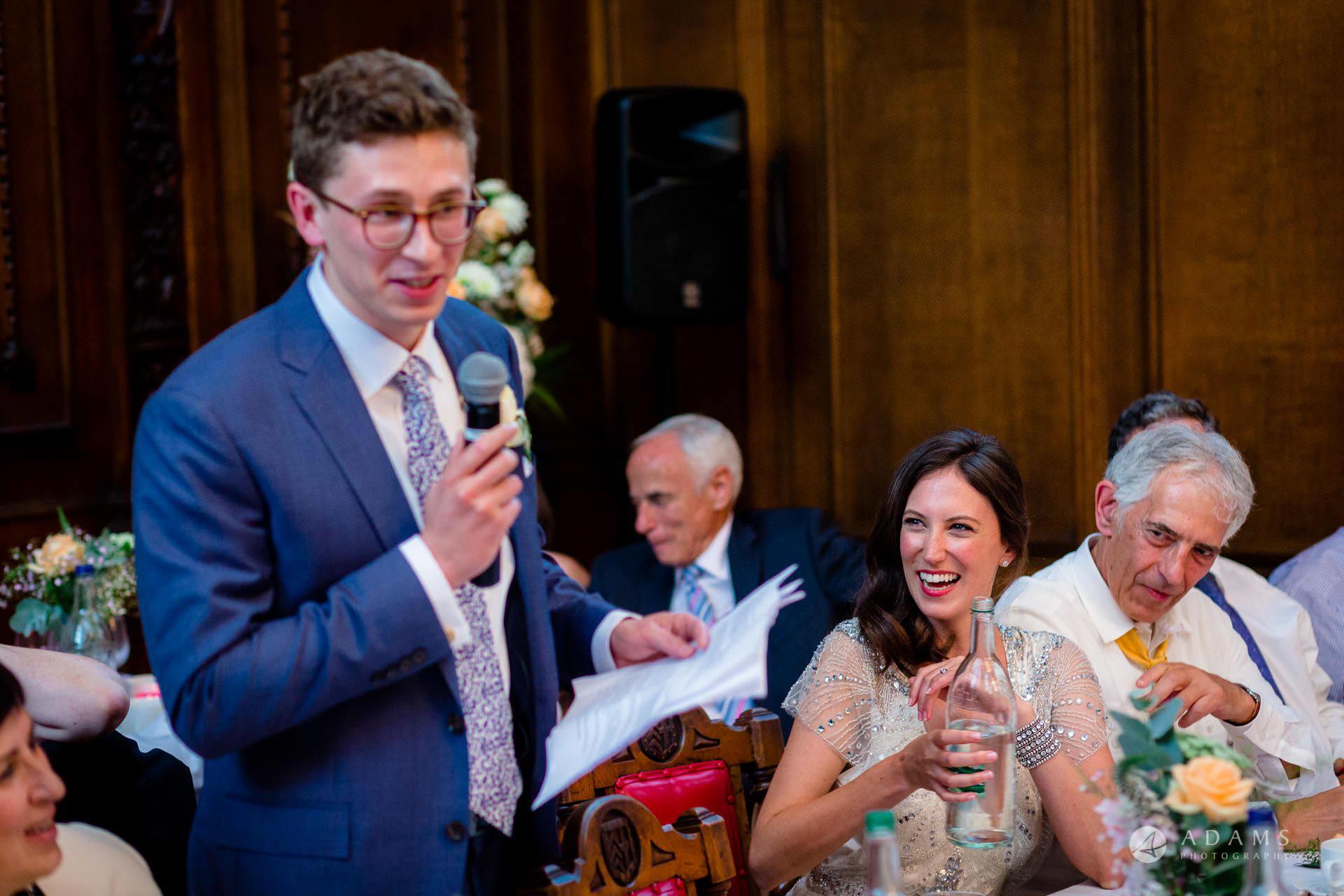 Clare College wedding groom speech