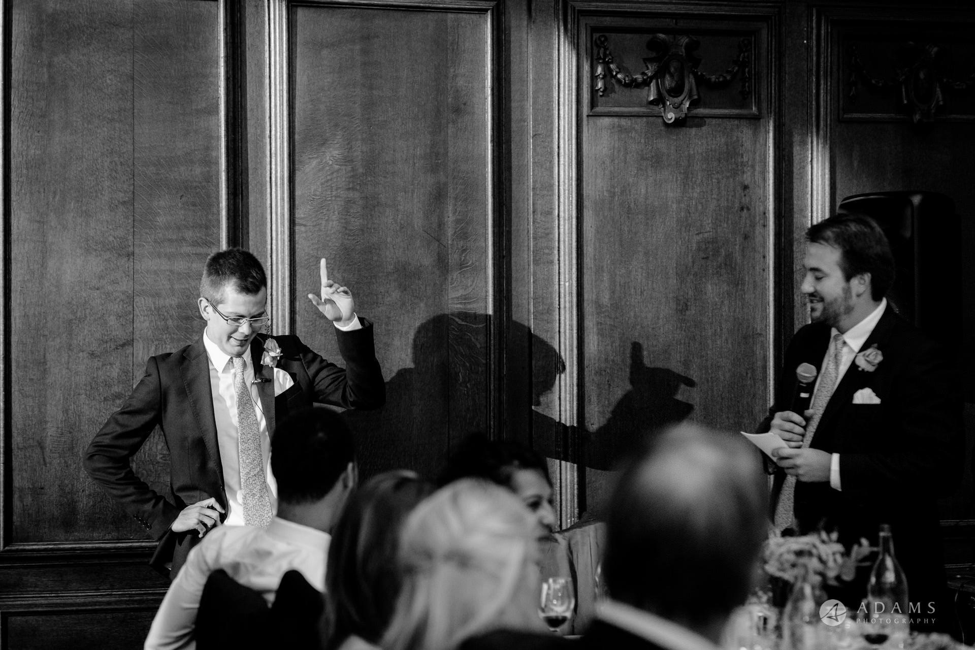 Clare College wedding best man speech hand in the air