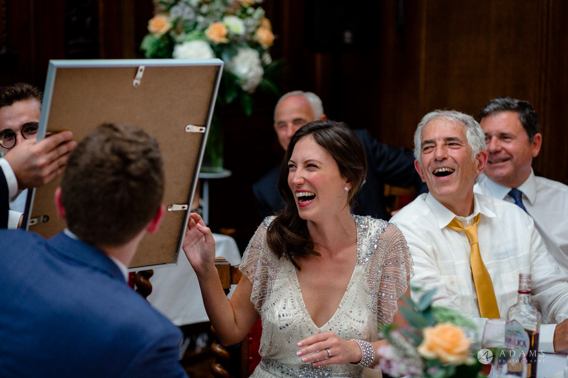 Clare College wedding bride laughing