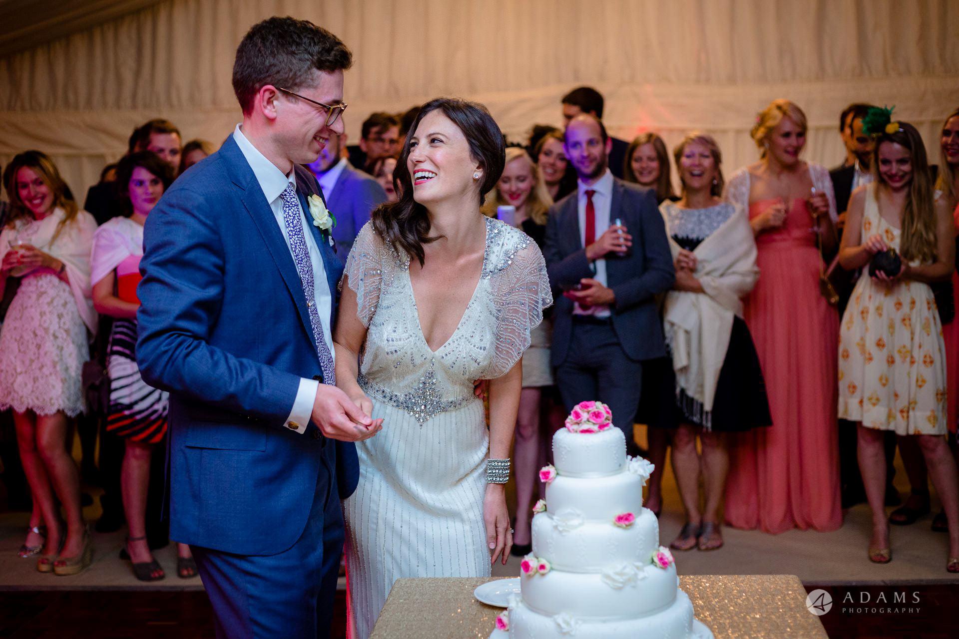 Clare College wedding cake cutting