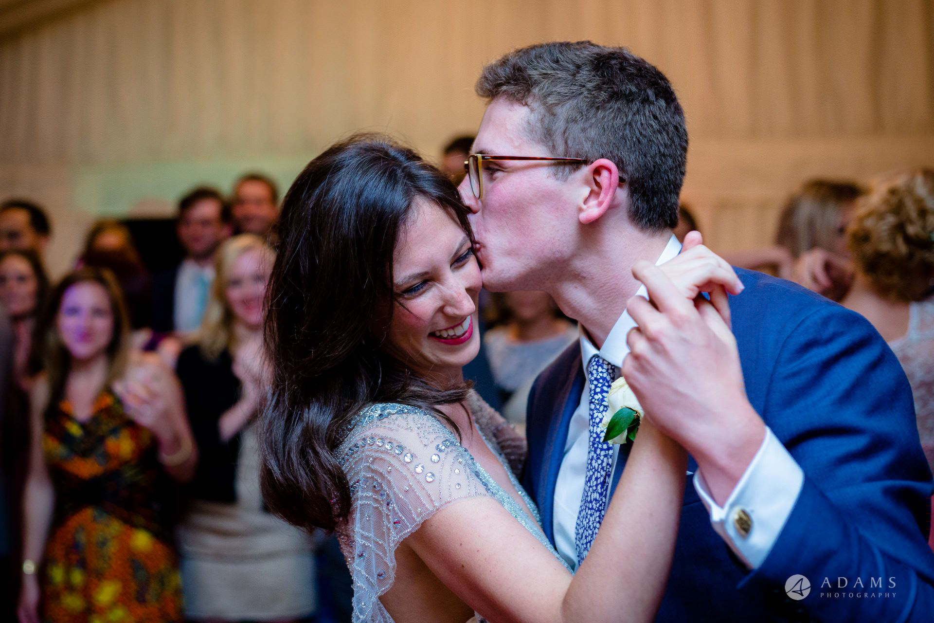 Clare College wedding first dance and a kiss