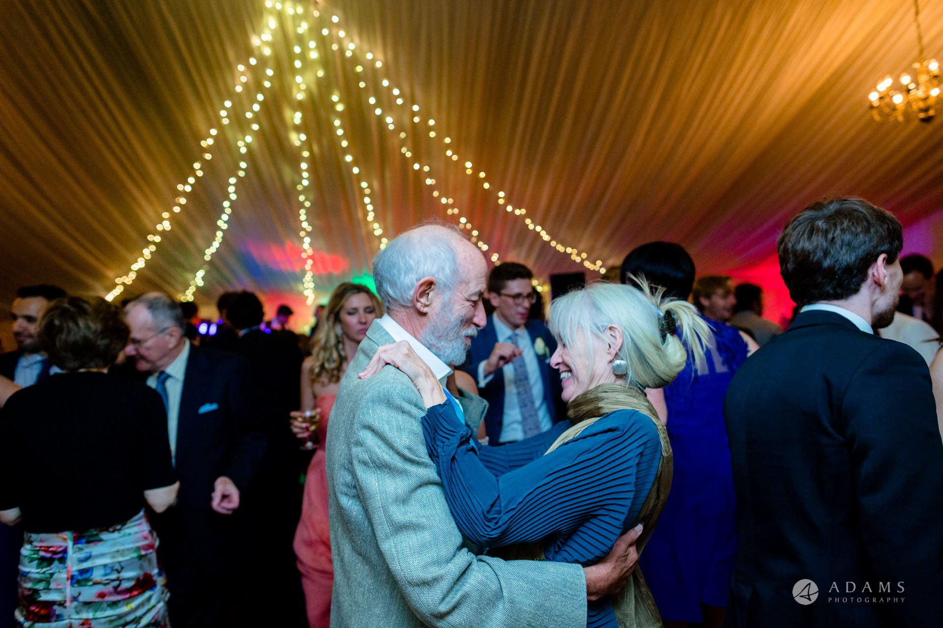 Clare College wedding guests dance close