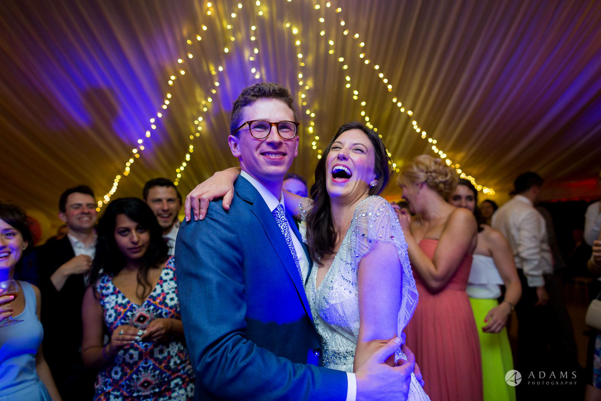 Clare College wedding bride and groom having a ball