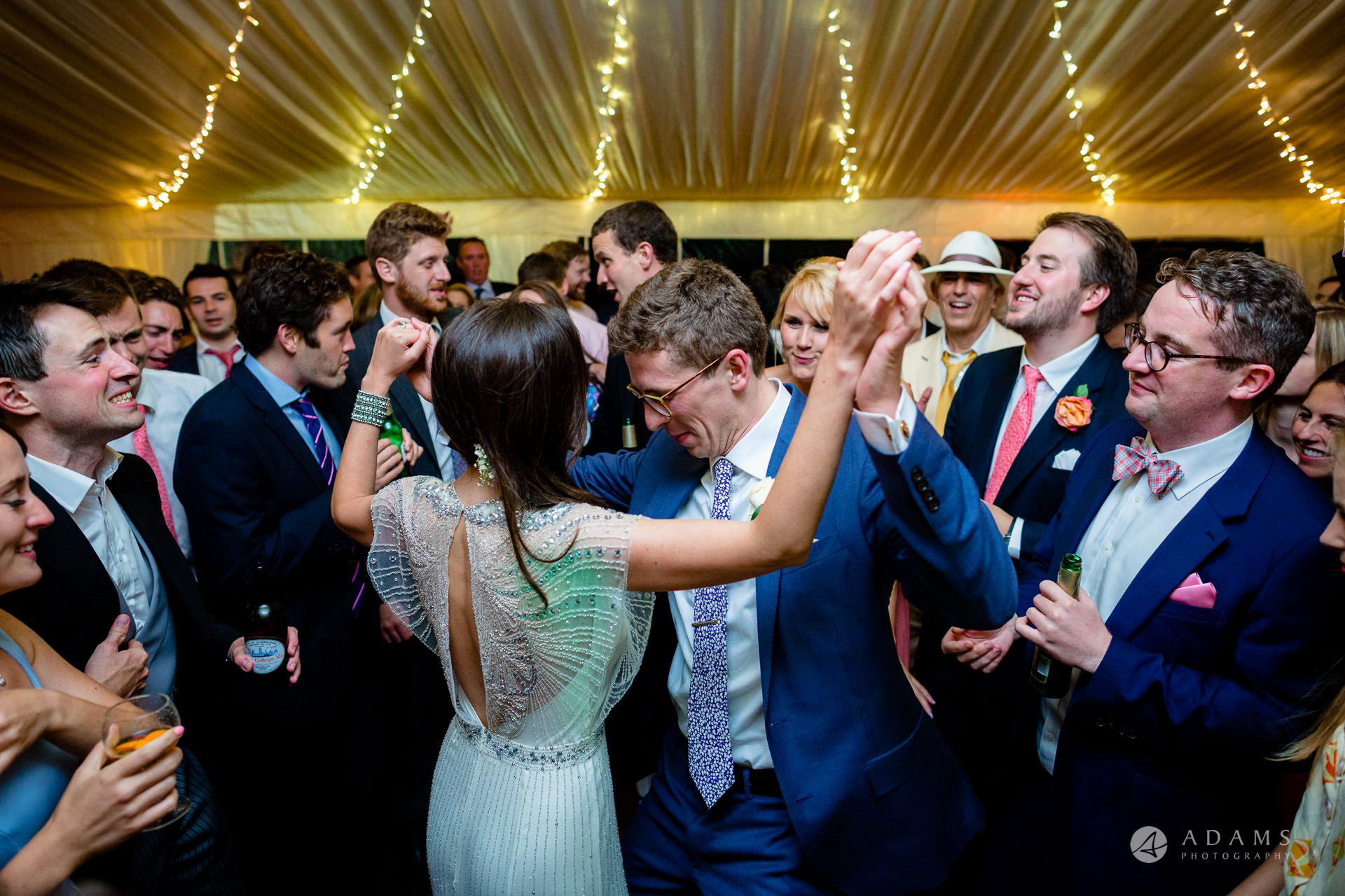 Clare College wedding bride and groom show their dance moves