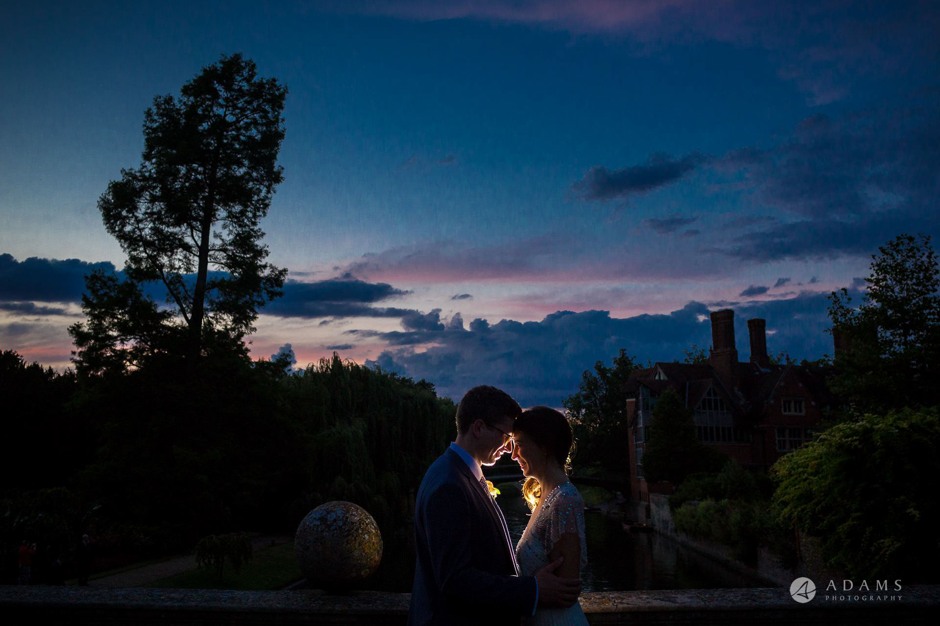 Clare College wedding blue hour photo shot of the couple