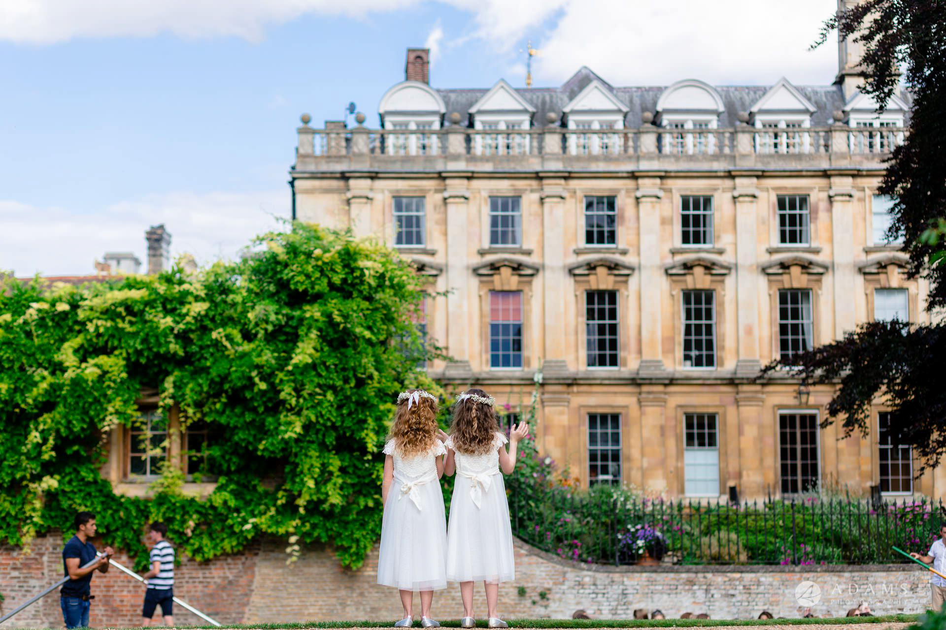 Clare College wedding photos flower-girls overlooking the canale