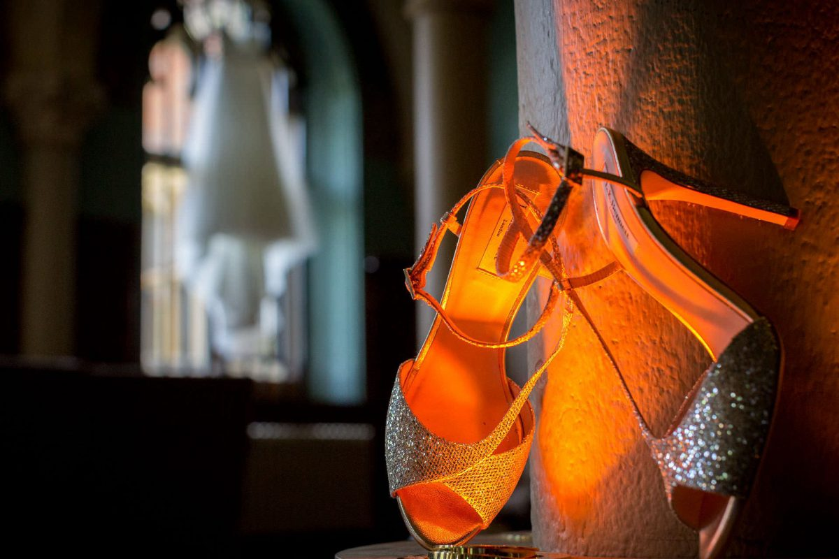 Wotton House wedding shoes and dress