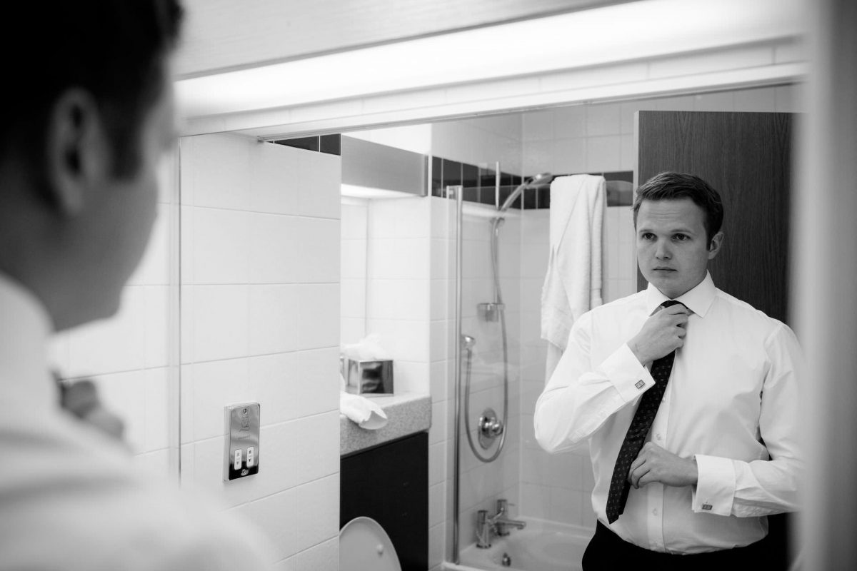 Wotton House wedding groom getting ready