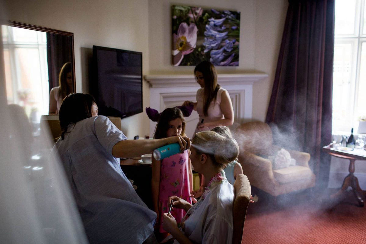 Wotton House wedding bride having her hair done