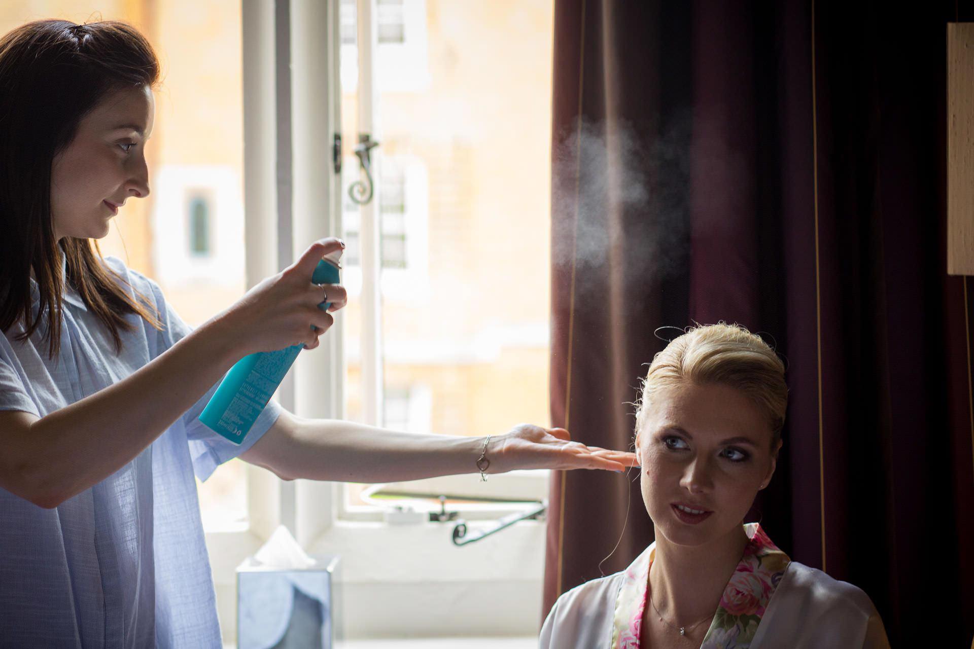 Wotton House wedding hair spray