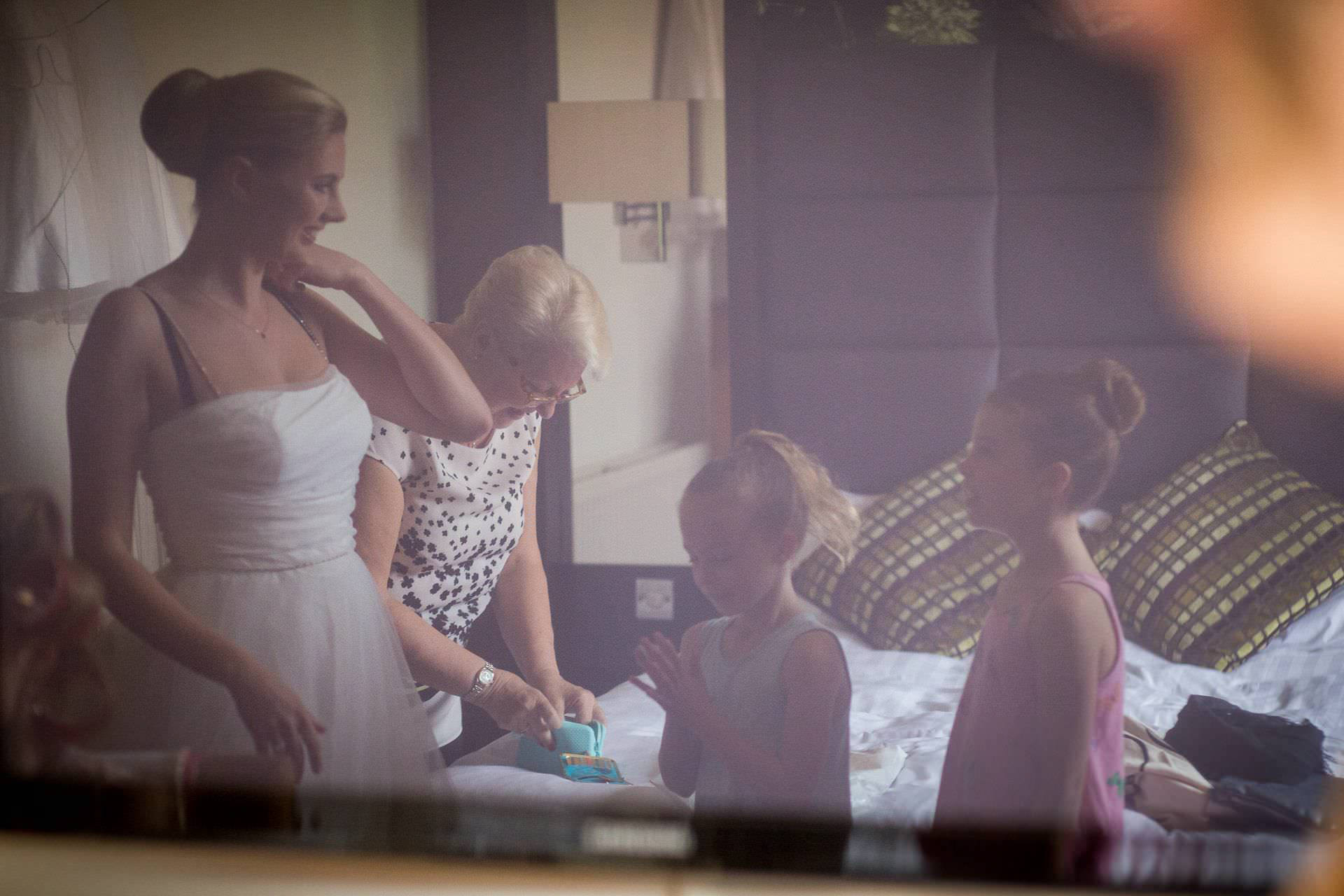 Wotton House wedding reflection in the mirror