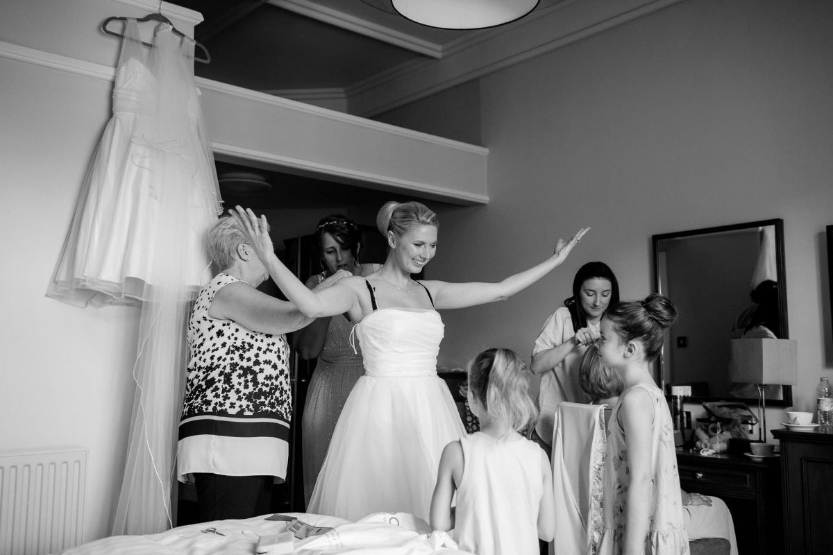 Wotton House wedding bride spreading her hands