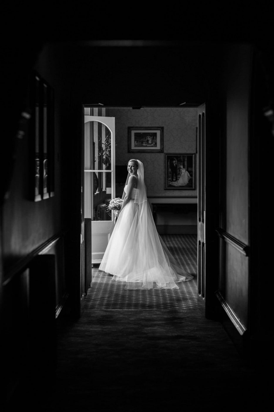 Wotton House wedding bride walking out of the hotel