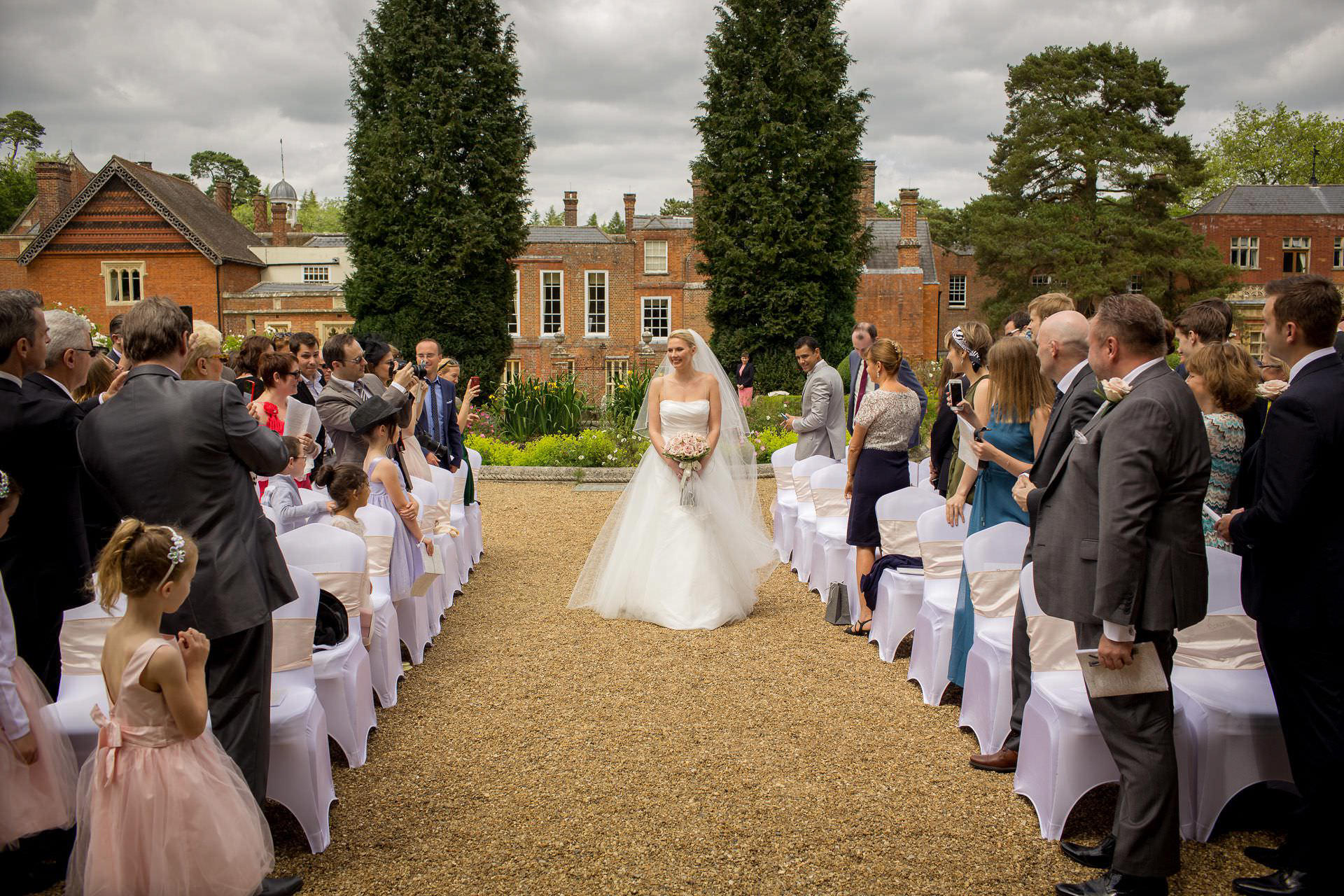 Wotton House wedding bride walking down the aisle on her own