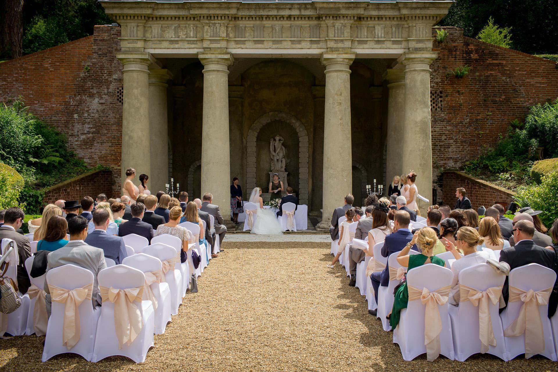 Wotton House wedding ceremony outdoors