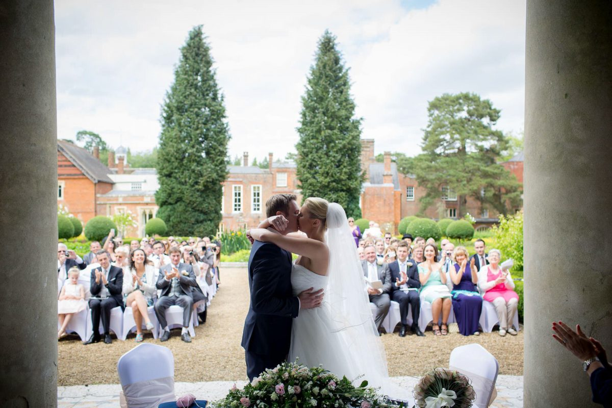Wotton House wedding first kiss
