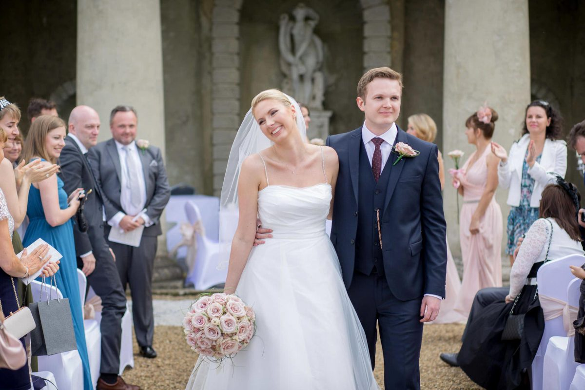 Wotton House wedding married couple walking