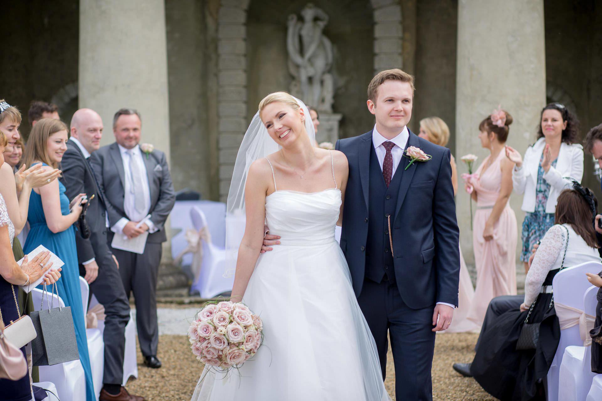 Wotton House wedding married couple walking