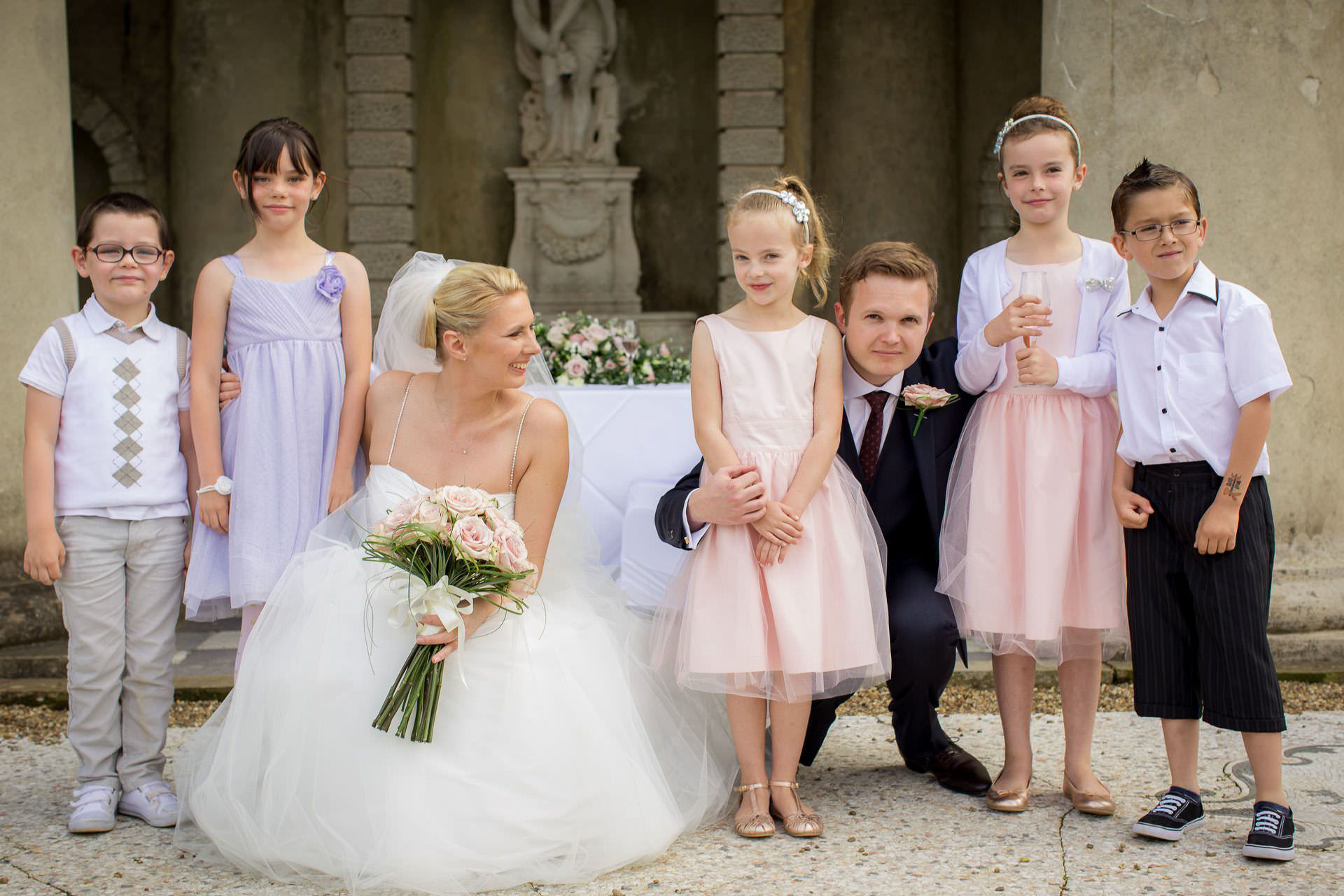 Wotton House wedding couple with flower girls