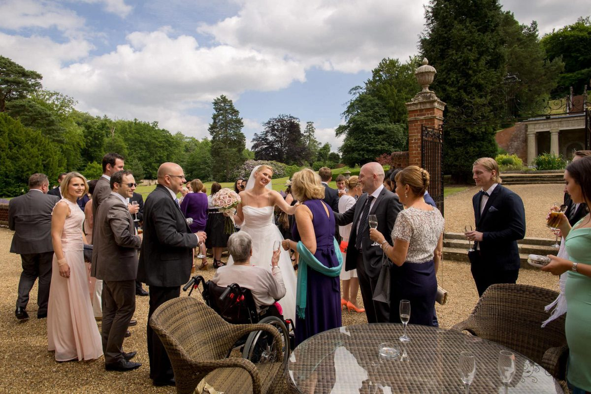 Wotton House wedding bride mingles with the guests