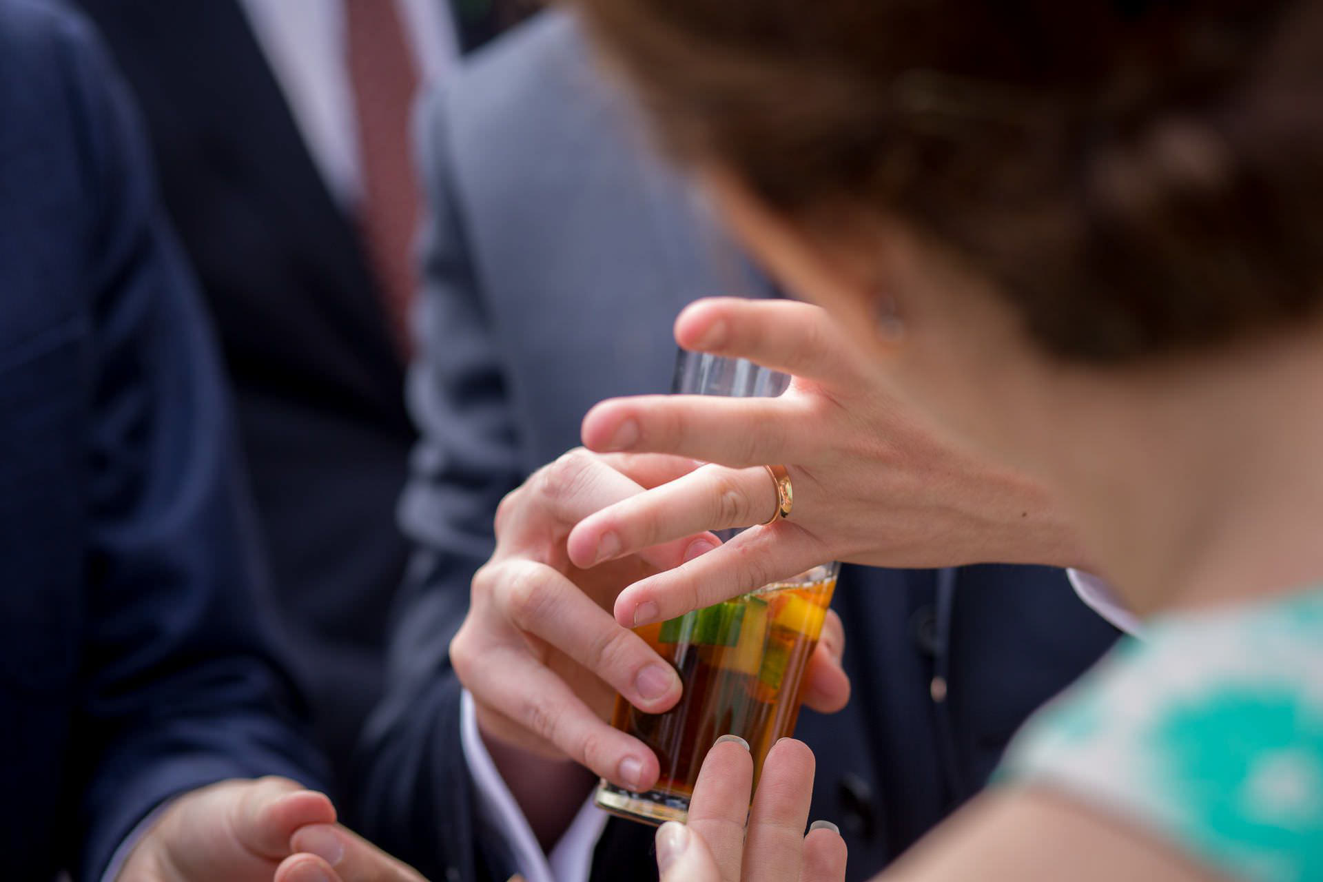 Wotton House wedding groom hand with a ring