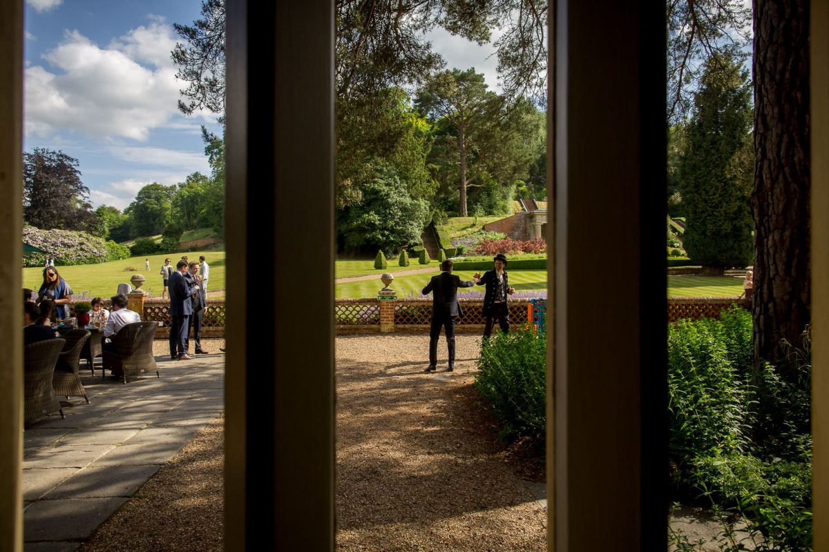 Wotton House wedding guests in the courtyard