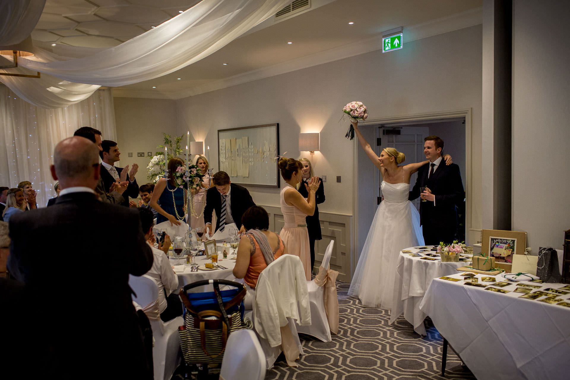 Wotton House wedding bride and groom enter the room
