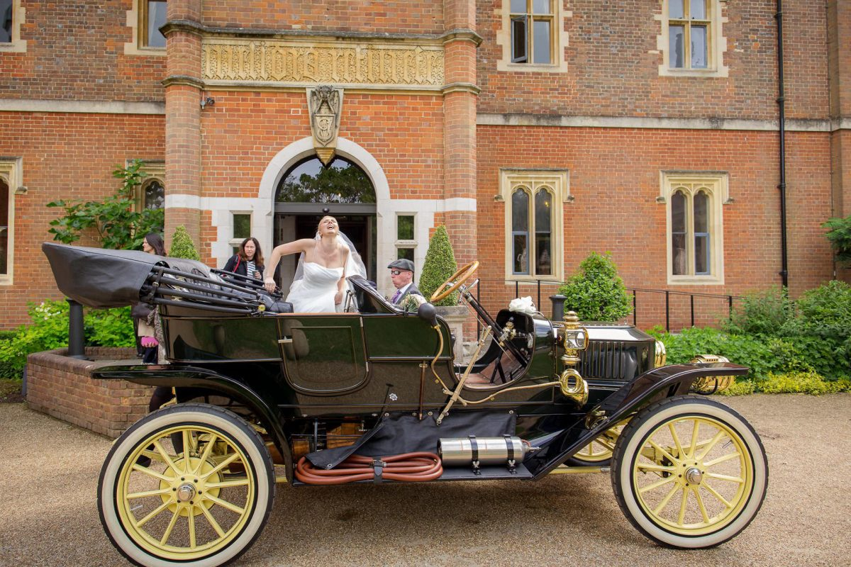 Wotton House wedding steam car
