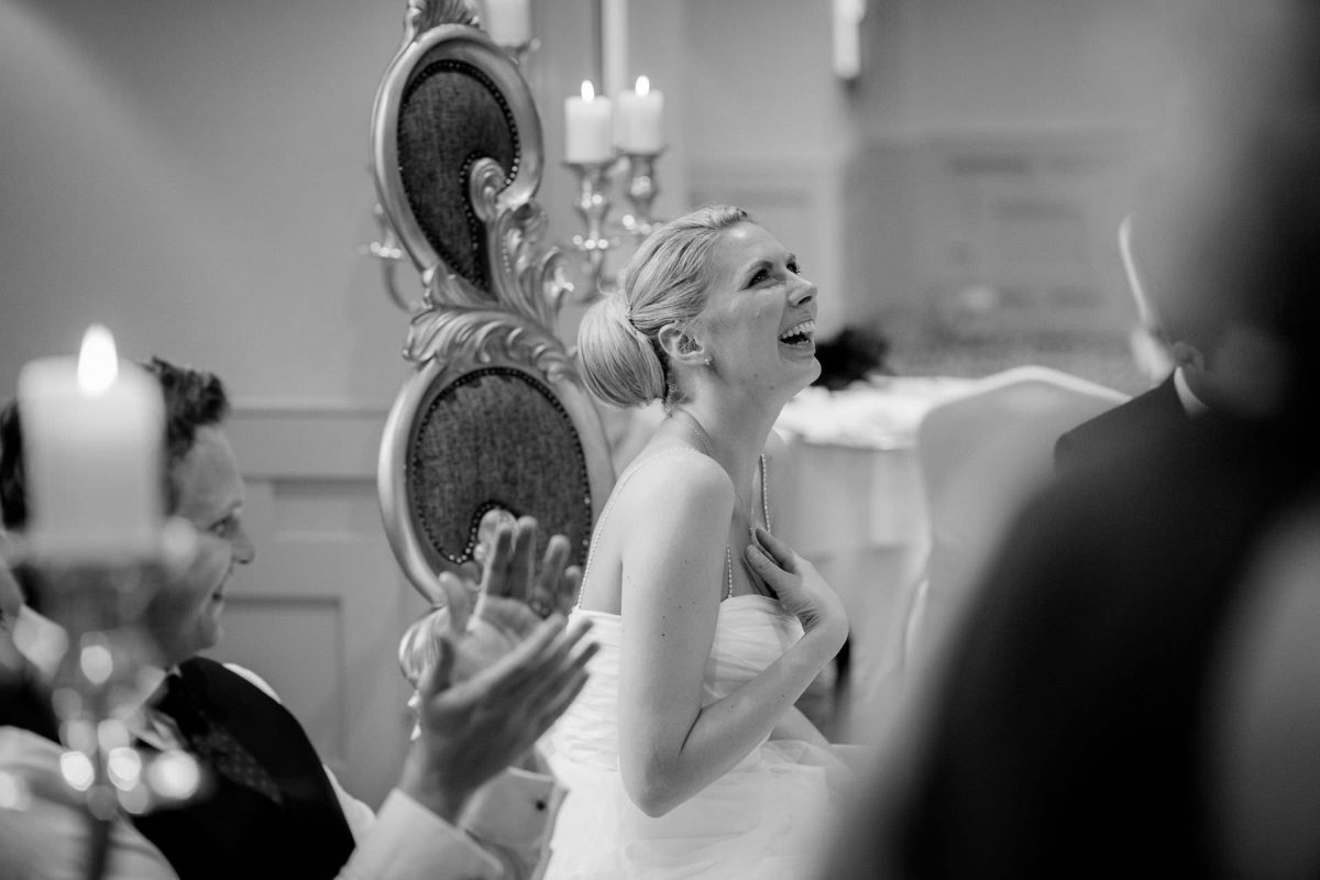 Wotton House wedding bride laughs
