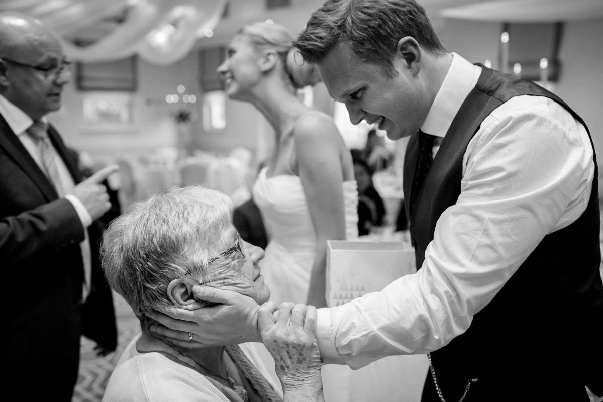 Wotton House wedding emotional moment between groom and his grandmother