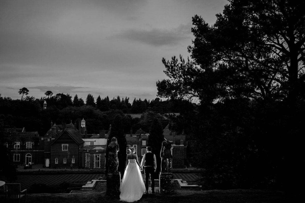 Wotton House wedding evening photo shoot with the view on the venue