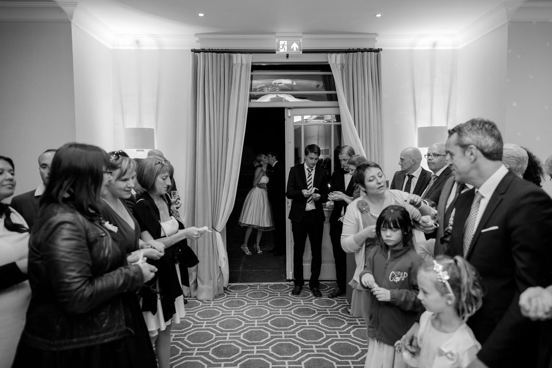 Wotton House wedding couple about to enter the dance floor