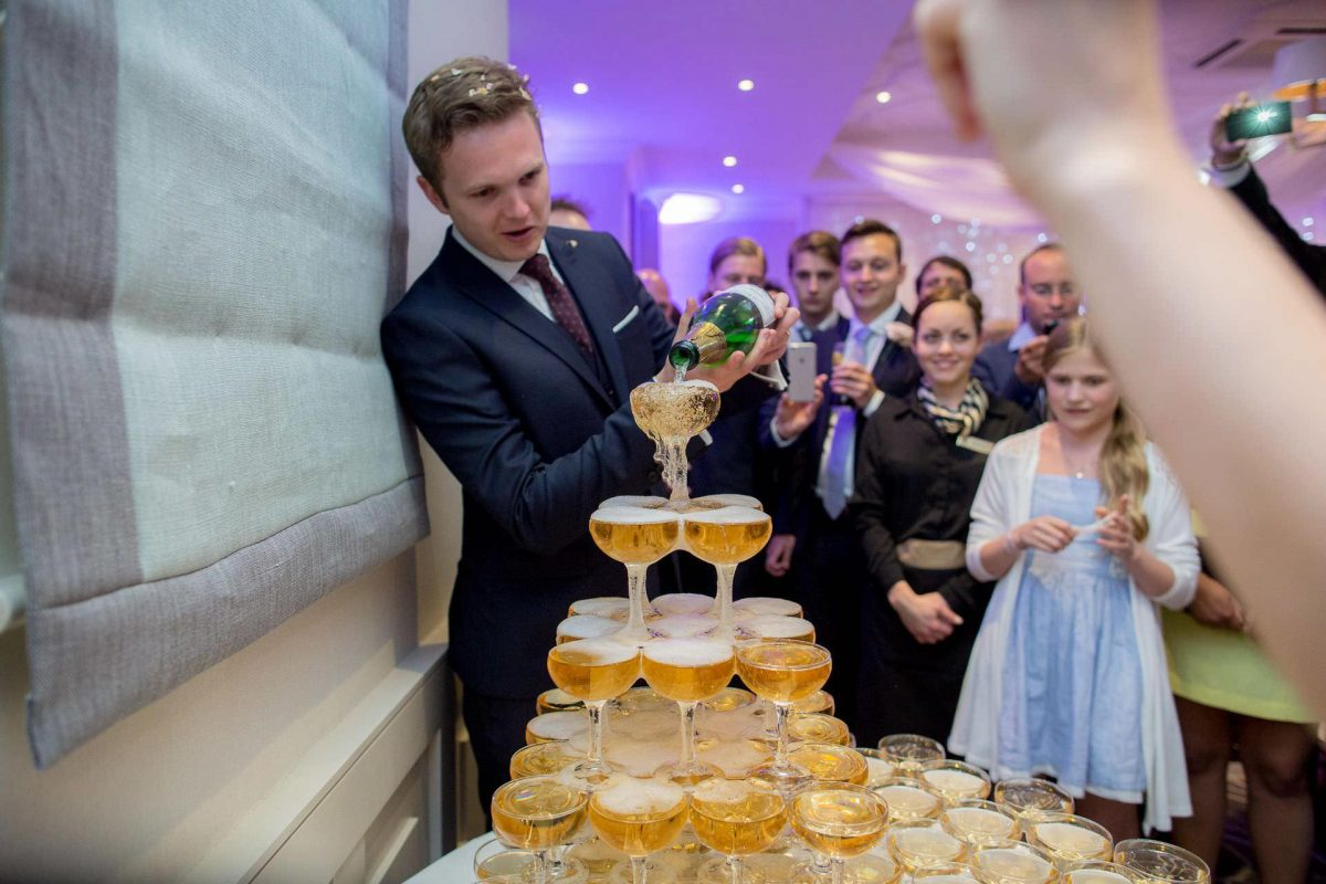 Wotton House wedding champagne glasses in a pyramid