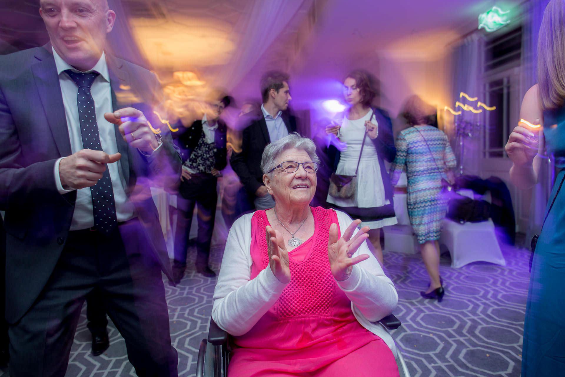 Wotton House wedding grandmother dancing