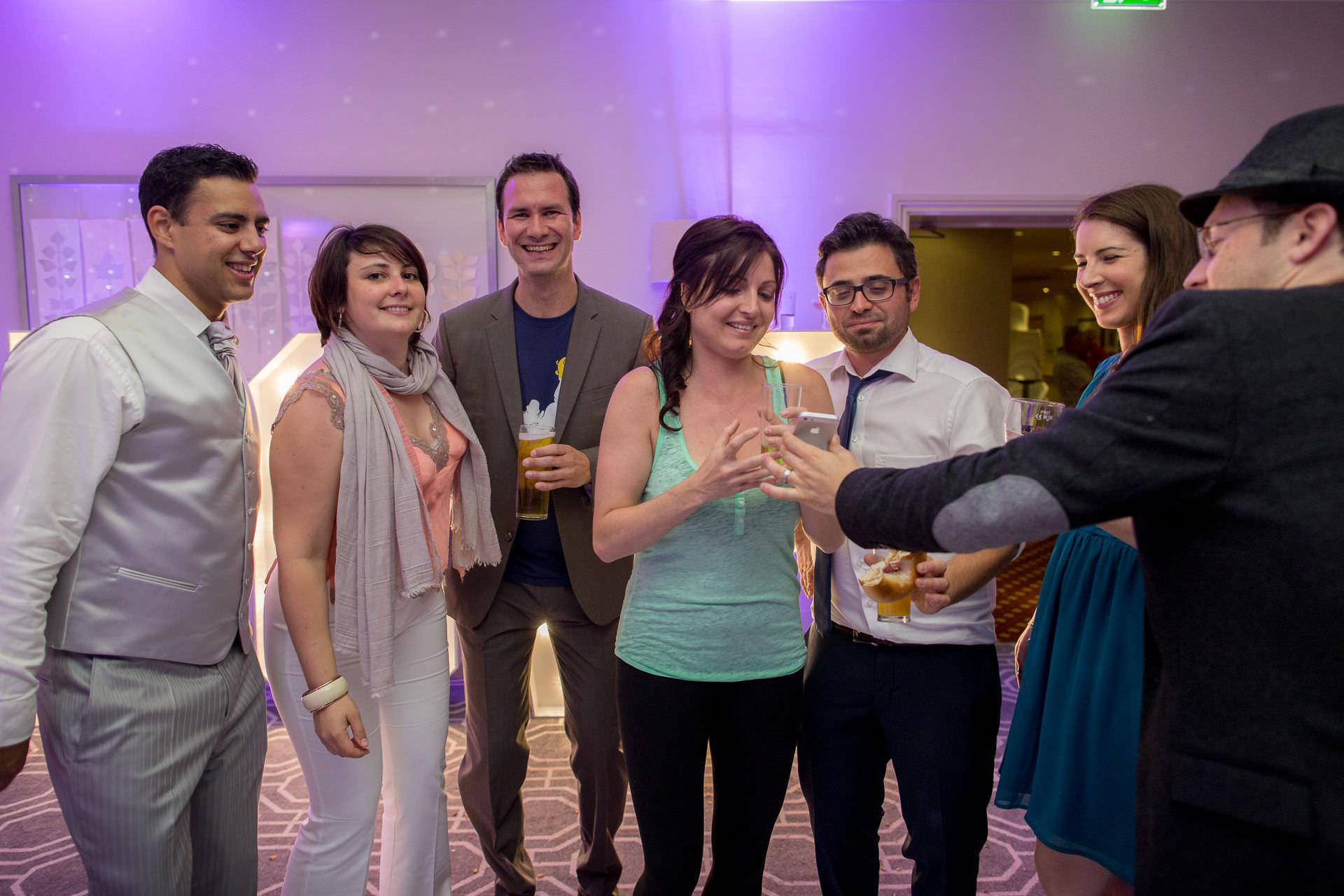 Wotton House wedding guests having a drink