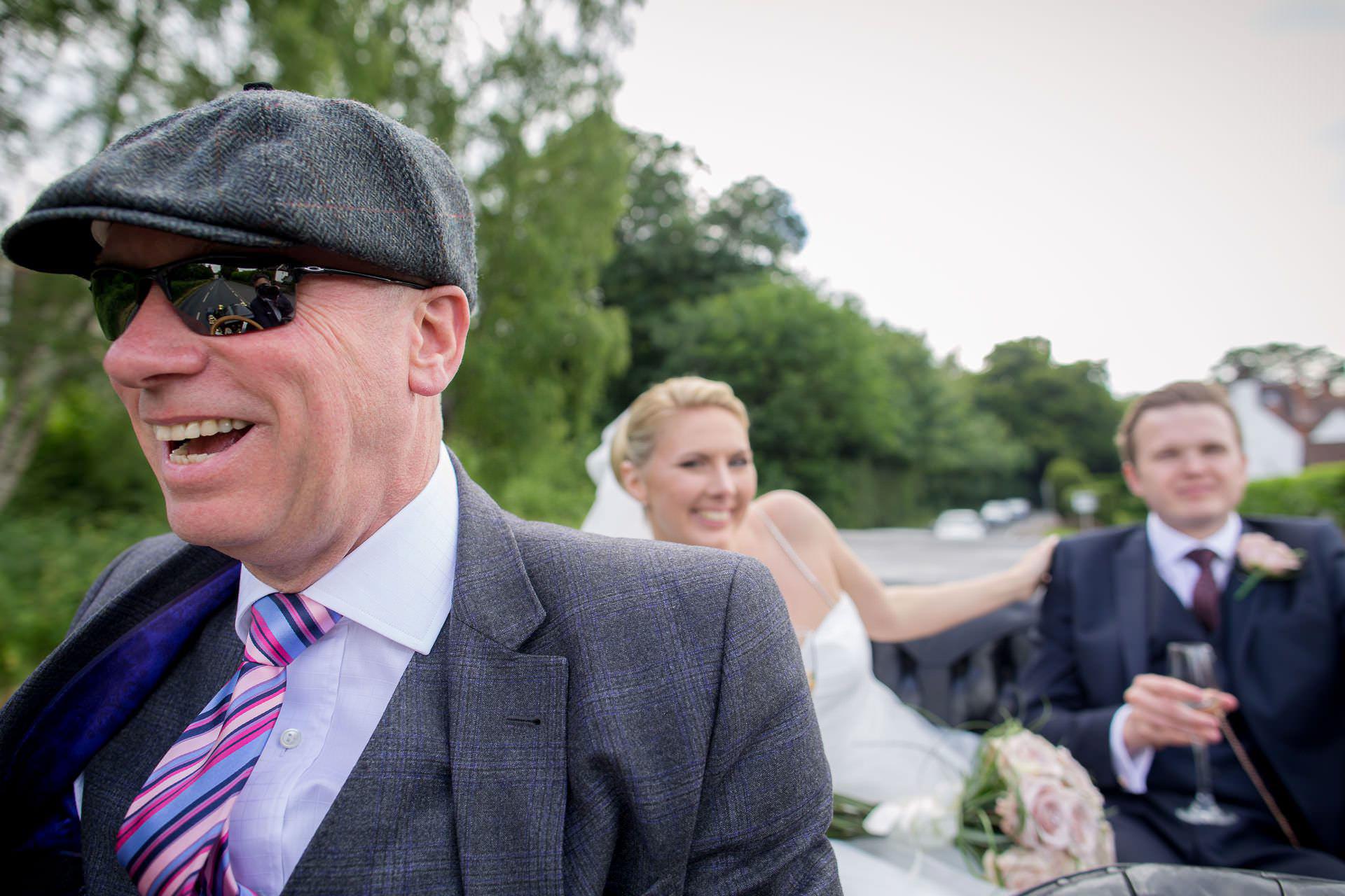 Wotton House wedding riding the steam car Stanley