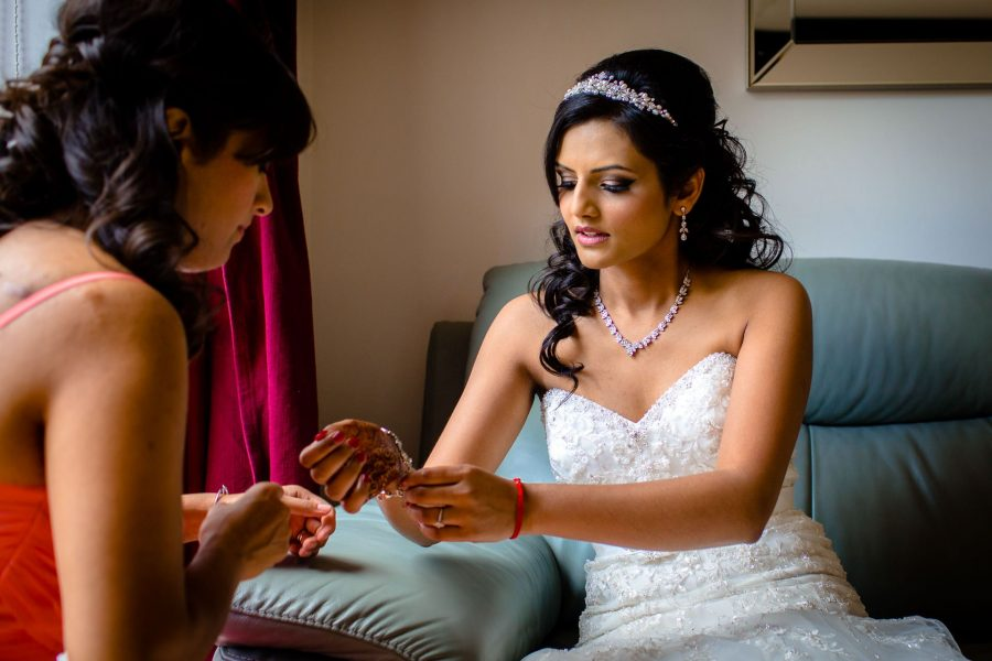 asian wedding photo of bride before the asian wedding in london