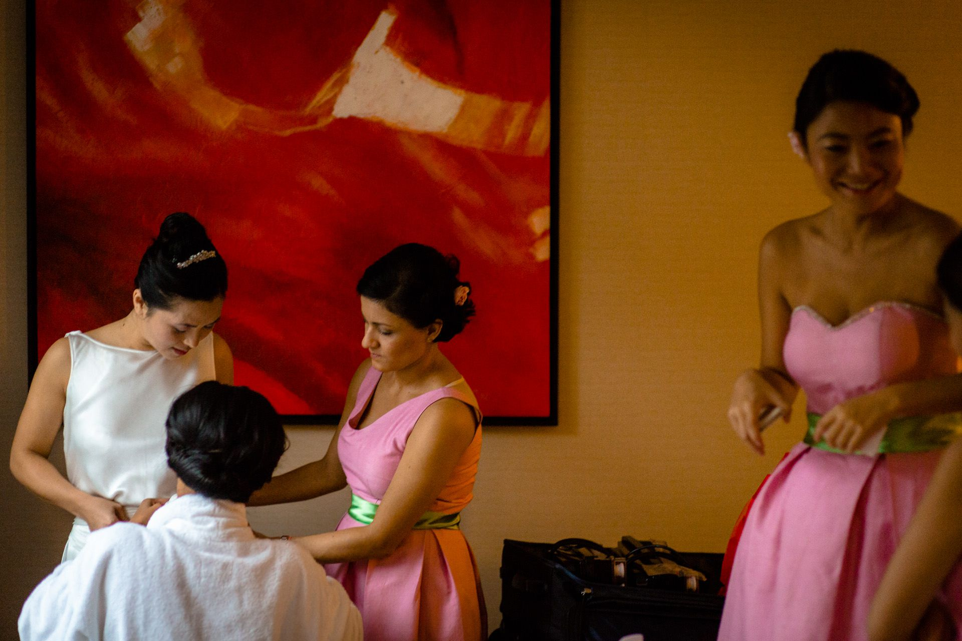 Chinese Wedding bride is getting ready
