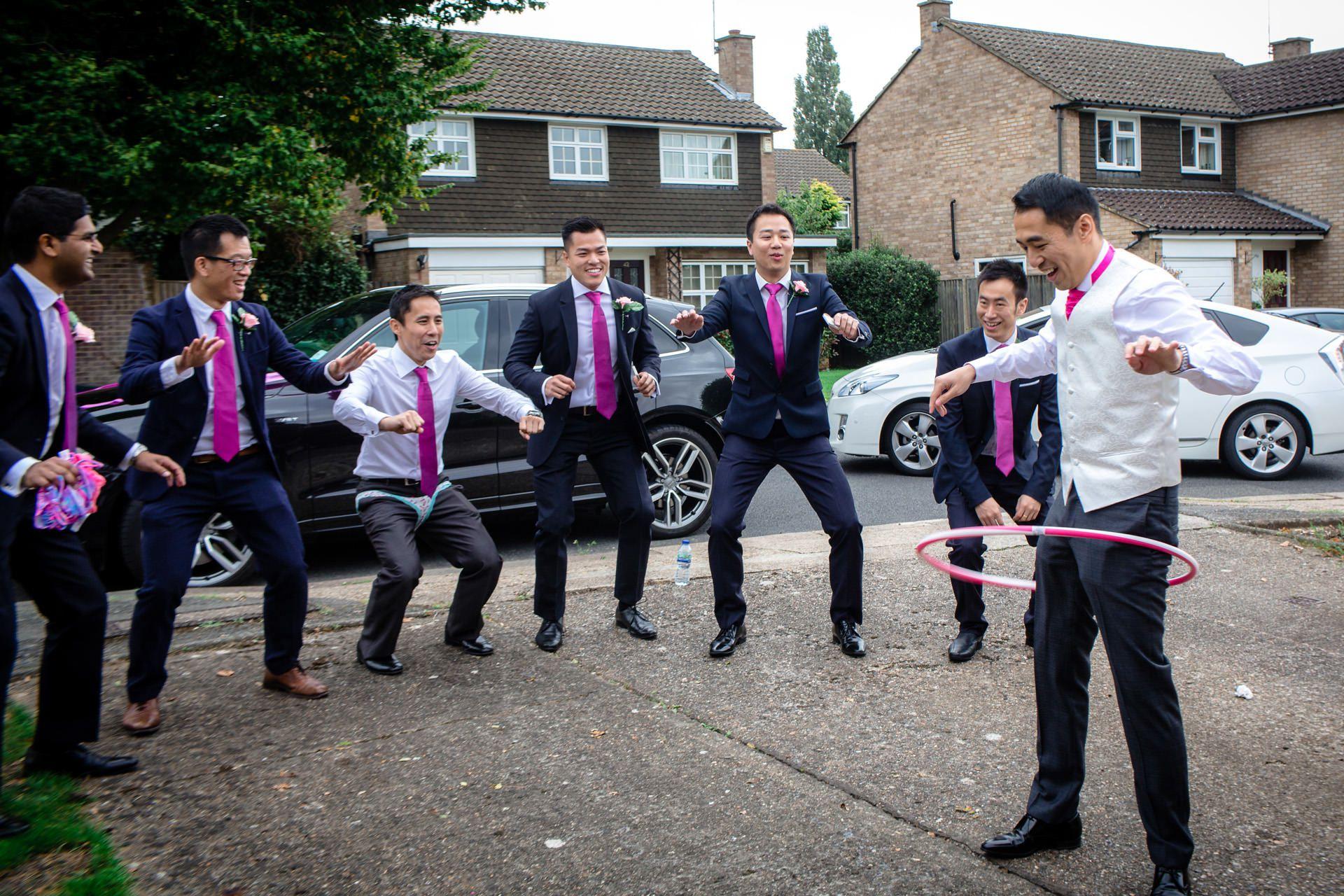 Chinese Wedding photo of groom and groomsmen games