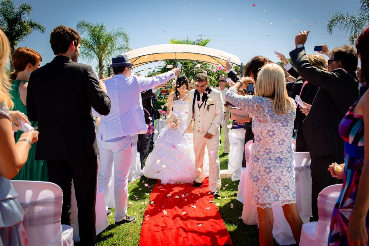 the couple just got married in the open air in Portugal for their destination wedding
