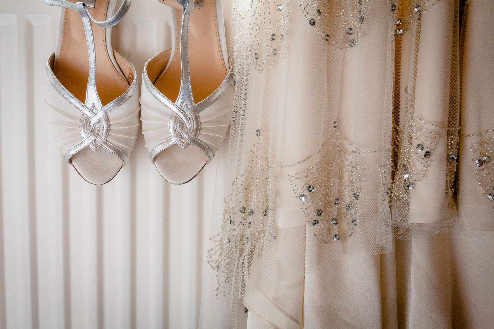 wedding shoes and wedding dress